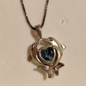 Silver Kissing Dolphins& Blue Heart Stone Necklace